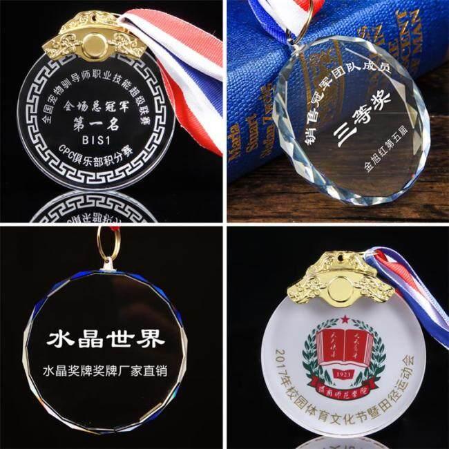 China Cheap Custom Metal Design You Own Marathon Running Sport 3D Crystal Metal Award Medal With Sublimation Ribbon
