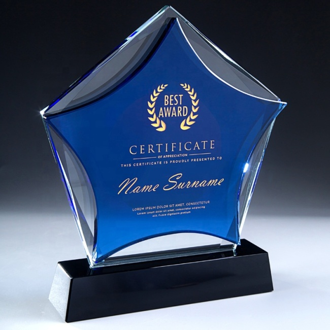 Wholesale K9 Quality Blue Star Crystal Plaques And Awards With Black Base