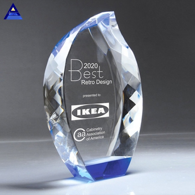 Personal Beauty Color Custom Engraving Accolade Flame Crystal Trophy