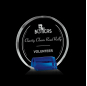 Circle Shape Cheap Blank Crystal Award With Blue Semi-circle Base For Custom Engraving Logo