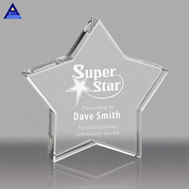 Custom Transparent Crystal Glass Five Point Star Crystal Paperweight For Gifts Home Decoration