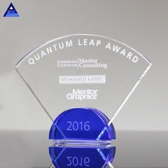 Wholesale High-Quality Transparent Empty Radiant Cobalt Custom Logo Crystal Glass Trophy