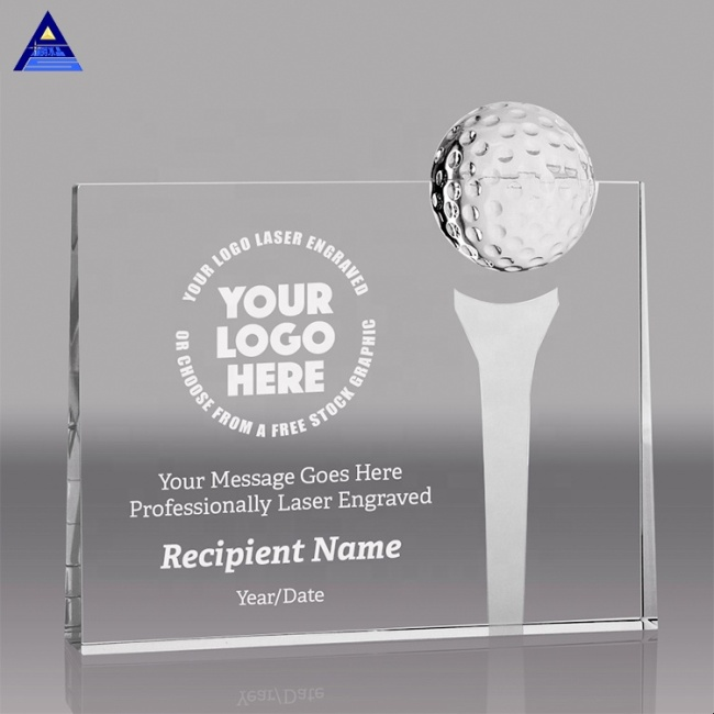 New Arrival Factory Wholesale K9 Blank Crystal Block with Golf Ball and Etched Tee