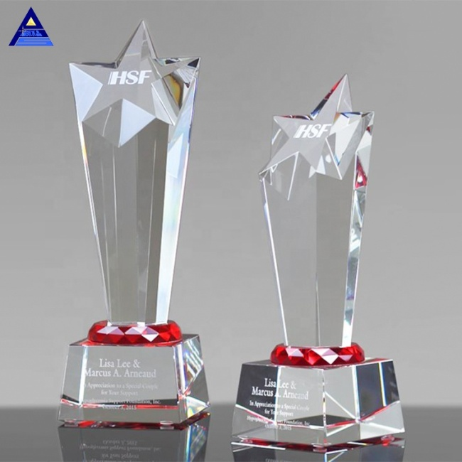 Name Engraving Crystal Star Award Custom Clear Trophy Award For Souvenir