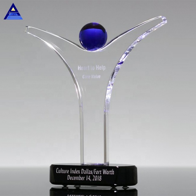 Custom Engraved Crystal Figure Trophy for Team Up Honor Awards