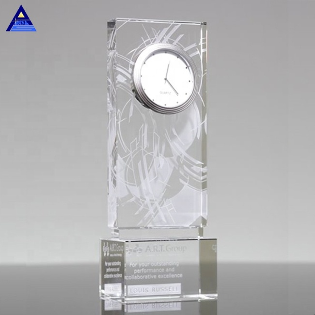 Personalized Optical Crystal Clock Cube Rectangle Large Star Time Crystal Desk Clock