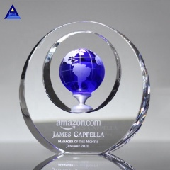 Wholesale Home Decoration Blue Circle Plaque Award Trophy Crystal Glass World Globe