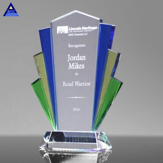 High Quality Custom Art Deco Crystal Glass Trophy For Business Awards