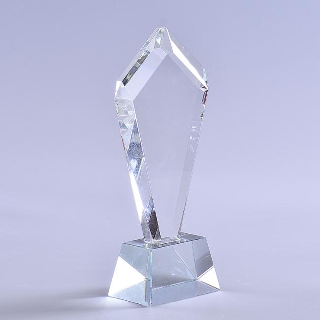 Popular Crystal Anniversary Souvenirs Pentagon Shaped Crystal Trophy Awards Glass Plaque With Base