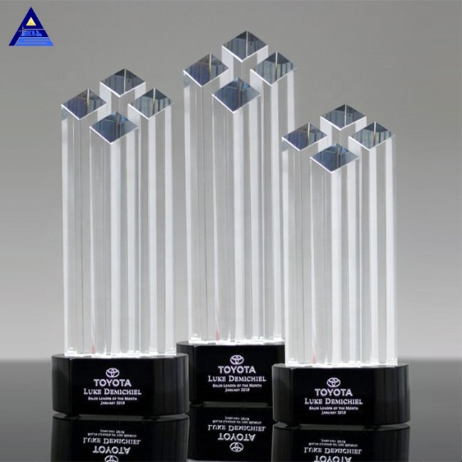 Cheap Custom Sublimation Emory Pinnacle Award Crystal Trophy For Souvenir Gifts