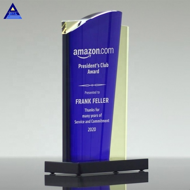 Custom Colorful Printed Malibu Crystal Award Plaque And Trophies For Selling