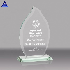 Wholesale Engraving Leaf Trophy K9 Crystal Award Plaques For Corporate Gifts