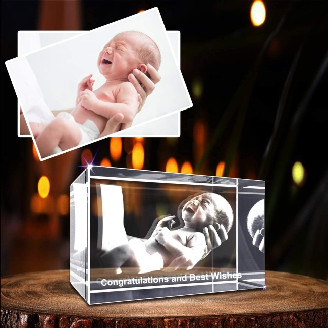Personalized Custom 3D Holographic Photo Etched Engraved Inside Laser Crystal with Your Own Picture Birthday Wedding Gift