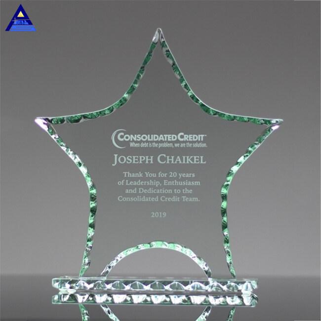Genuine Free Engraving Faceted Crystal Star Award Trophy