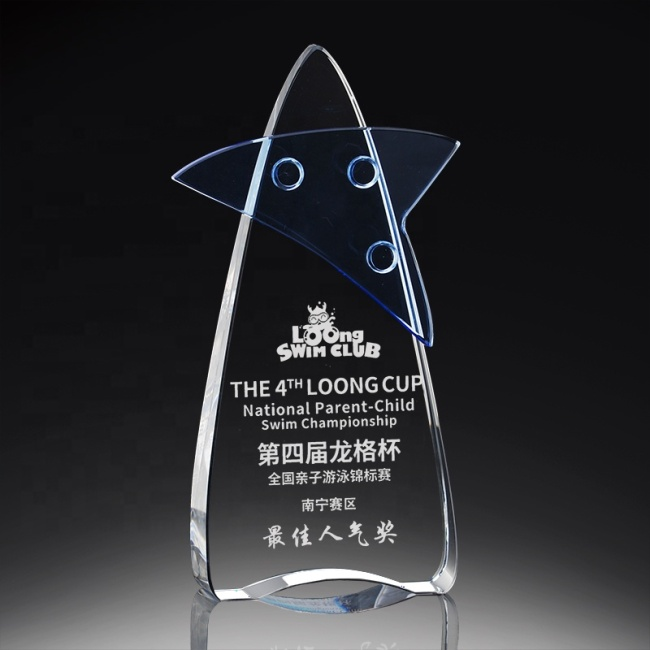 2021 New design crystal trophy award blank glass crystal awards plaque Crystal Star Trophy