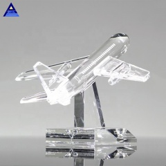 Wholesale Custom Transparent Crystal Glass Airplane Model Souvenirs Gift
