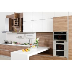 white mixed wooden color apartment kitchen cabinet