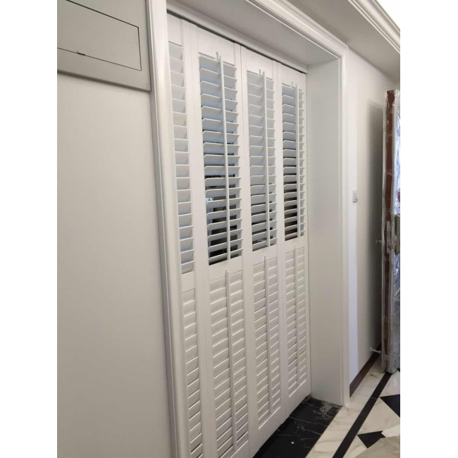 High quality white basswood shutter with front rod