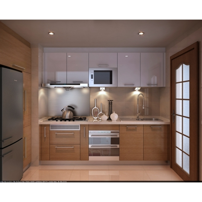 Combination color design modern apartment lacquer kitchen cabinet