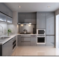 Light grey color apartment kitchen cabinet