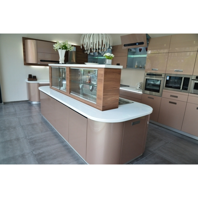 Arc shape design high technical kitchen cabinet