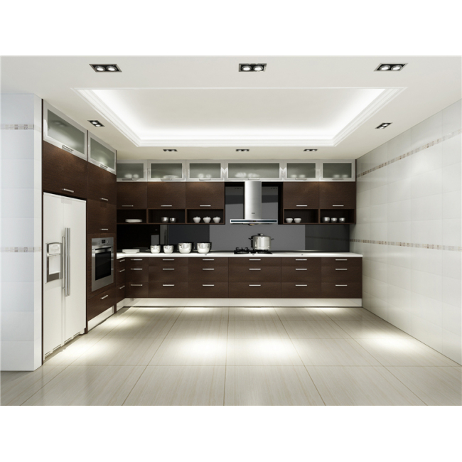 High quality timber veneer kitchen cabinet