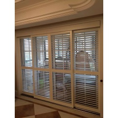 High quality basswood sliding door shutters
