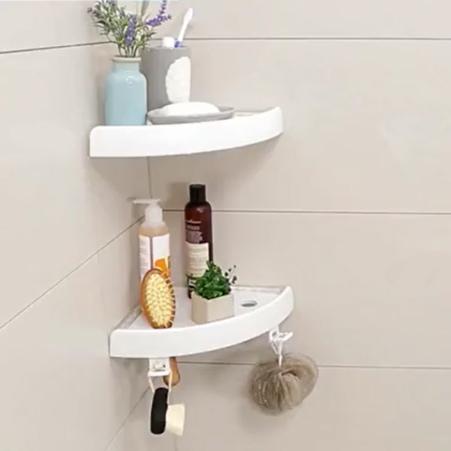 Self Adhesive Plastic Bathroom Magic Corner Shelf Kitchen Bathroom Waterproof Shower Shelf