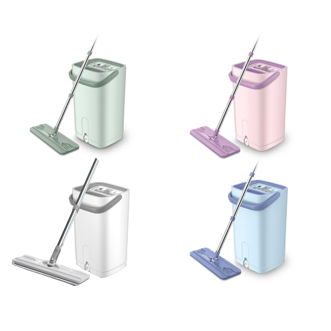 Hand free squeeze magic smart clean home flat floor mops with bucket