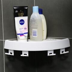 Shampoo Soap Wall Mounted Suction Plastic Bathroom Shower Magic Corner Shelf