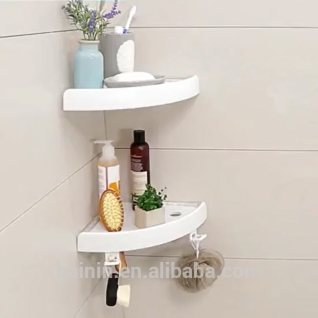 Double Sides Suction Cups ABS Tray Plastic Shelves Bathroom Corner Shelf