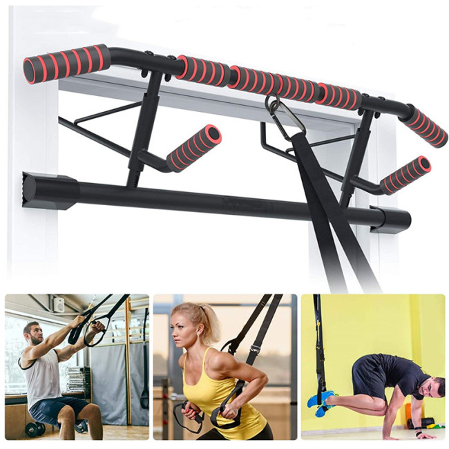 CNcompany Home Pull-up Bar adjustable stainless steel fitness equipment gym workout pole widened base,Horizontal bars