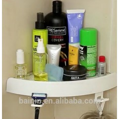 White Color Shower Storage Shelves Rack Plastic Suction Bathroom Wall Corner Shelf