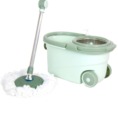 Eco-Friendly Plastic Wringer Double Bucket Mop Trolley