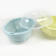 Plastic Kitchenware 3 in 1 Food Fruit Vegetable Washing Strainer Filter Colander