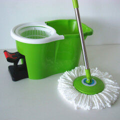 Home bathroom foot pedal spining dry floor dust cleaning mop with bucket