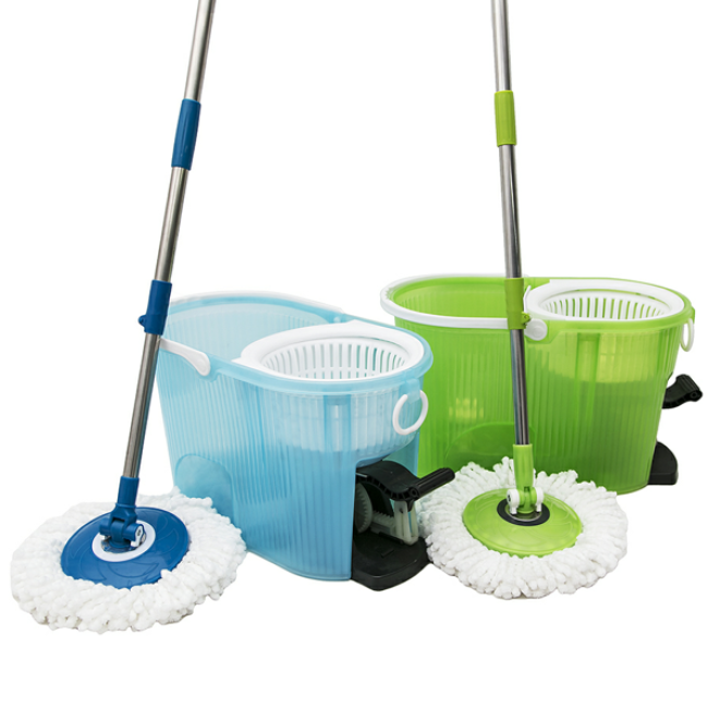 With Foot Pedal Two Heads Spin Mob 360 Rotate Magic Mop Bucket