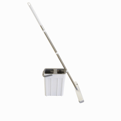 PVA Mop Bucket Set with Microfiber Pads Hand-Free Floor Cleaning Flat Mop