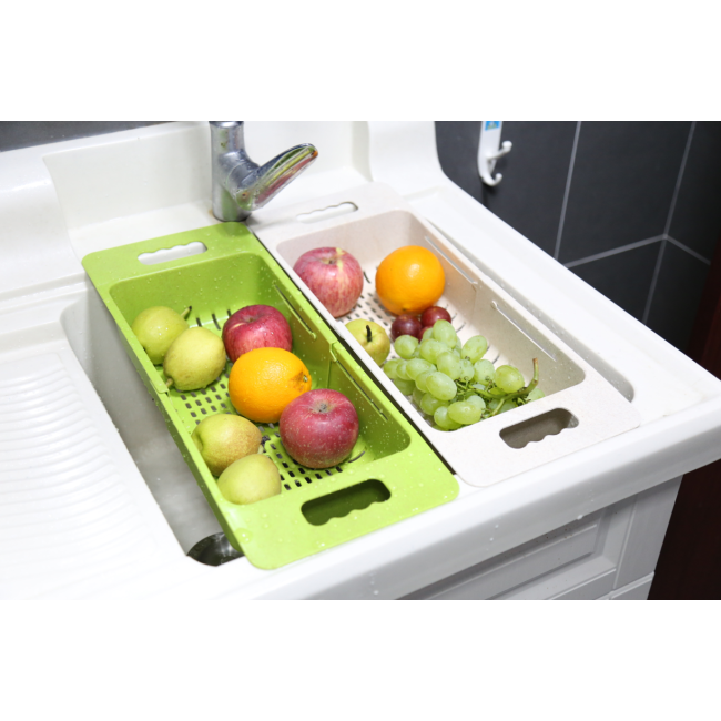 China Kitchen Utensils Wholesale Telescopic Plastic Fruit Drainer Filter Basket With Ears