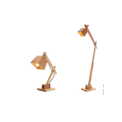 Collapsible wood table and floor lamp
