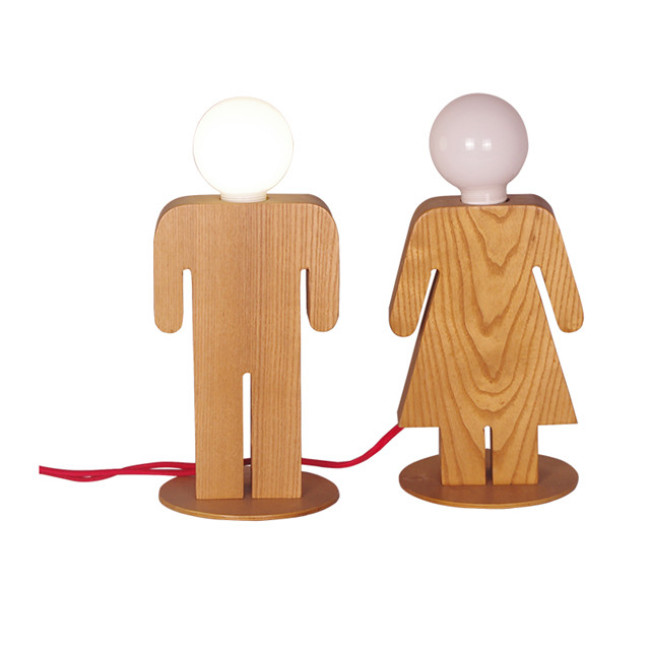 Girds and boys wood table lamps