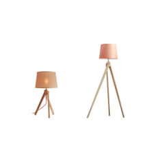 Modern wood table and floor lamp