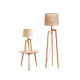 Modern wooden table and floor lamp