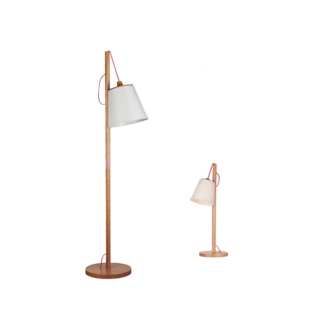 Wood table and floor lamp