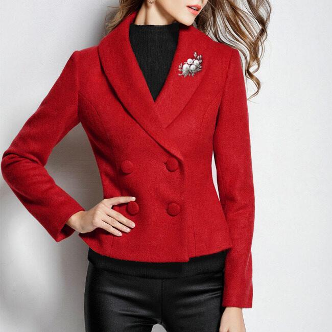 Haisaimir 2020 spring and winter q93 new ol short fit bee waist skirt women's woolen coat