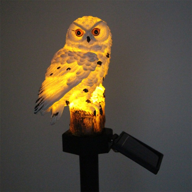 Amazon popular owl resin solar lamp waterproof LED garden decoration landscape lawn lamp