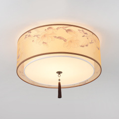 Led fabric ceiling light antique living room ceiling light new Chinese bedroom dining room study round square ceiling light