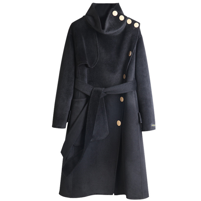 Autumn and winter 2020 new high-end black hand sewn high collar double-sided wool coat women's medium and long-term manufacturers wholesale and stock